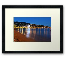 Beach at night in le lavandou  var cote d'azur provence, France Framed Print