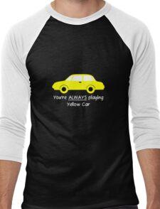 Yellow Car (White Text) Men's Baseball ¾ T-Shirt