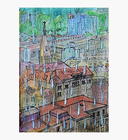 Watercolor Sketch - Genève, Saint-François from Champel on a Rainy Day Photographic Print