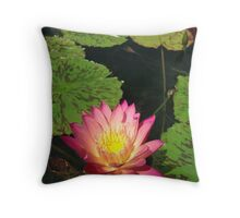 Pink Lilly Pond Flower Throw Pillow