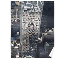 Aerial View of Reflection on Building, Top of the Rock Observation Deck, New York City Poster