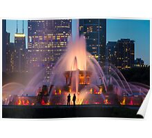 A telephoto look of buckingham fountain with people in for scale Poster