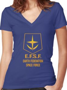 Gundam Earth Federation Women's Fitted V-Neck T-Shirt