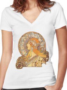 Mucha – Zodiac Women's Fitted V-Neck T-Shirt