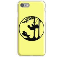 Silhouette art, child on a swing, dog iPhone Case/Skin