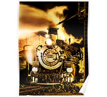 Durango & Silverton Narrow Gauge Rail Engine 480 at Night Poster