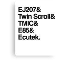 Helvetica List - JDM Subaru STi Canvas Print