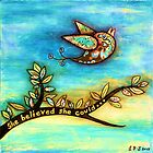 'FLY' - She believed she could. by Lisa Frances Judd ~ QuirkyHappyArt