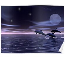 Dolphin Moon Poster
