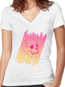 Skull Fade (Pink) Women's Fitted V-Neck T-Shirt