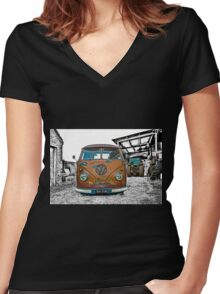 VW Split Screen Women's Fitted V-Neck T-Shirt