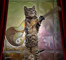 Cat playing guitar  by Annabellerockz
