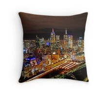 Melbourne CBD by night Throw Pillow