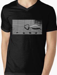 Stripe Swan Mens V-Neck T-Shirt
