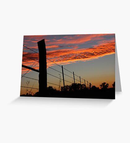 Sunset Fenceline Greeting Card