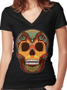 Tattoo Skull Women's Fitted V-Neck T-Shirt