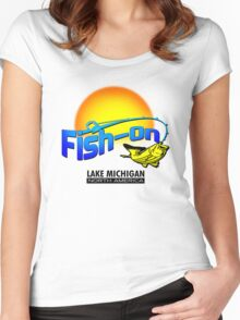 Fish On Lake Michigan Women's Fitted Scoop T-Shirt