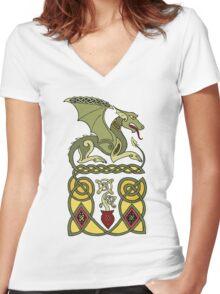 Celtic Dragon Women's Fitted V-Neck T-Shirt