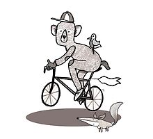 Bear on bike with Fox and Bird by ianupcott