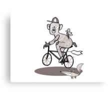 Bear on bike with Fox and Bird Canvas Print