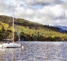 Moored yacht on lake by sc-images