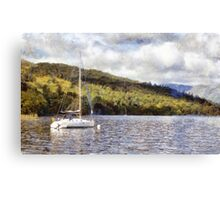 Moored yacht on lake Canvas Print