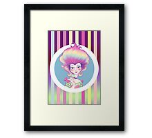 Marie Antoinette with Macaron on violet background Framed Print