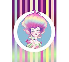 Marie Antoinette with Macaron on violet background Photographic Print