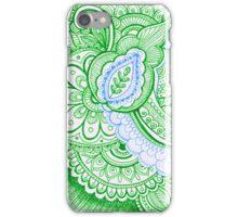 Earth Day Turquoise Blue Earthy Green Pretty Henna Tattoo Mandala Design iPhone Case/Skin