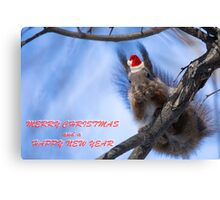 Santa Squirrel wishes you a Happy New Year  Canvas Print