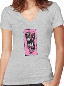 MONSTER!!! Women's Fitted V-Neck T-Shirt