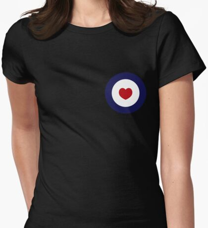 Mod Heart - Black Background Womens Fitted T-Shirt