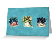 Vintage Flowers in Cups Greeting Card