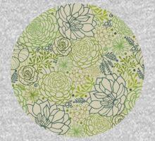 Succulent garden line art pattern One Piece - Long Sleeve