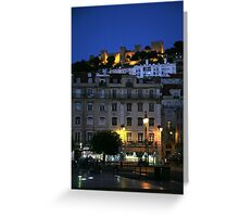 St George Castle at Night, Lisbon, Portugal. Greeting Card