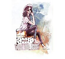 Travelling girl Photographic Print