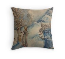 A Woman in Winter Throw Pillow