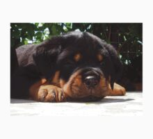 Cute Close Up Of A Sleepy Rottweiler Puppy Kids Tee