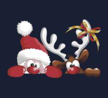 Funny Christmas Santa and Reindeer Cartoon Kids Clothes