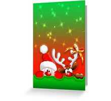 Funny Christmas Santa and Reindeer Cartoon Greeting Card