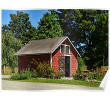 Little Red Barn and Garden Poster