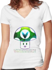 Vinesauce Glitch [UNOFFICIAL] Women's Fitted V-Neck T-Shirt