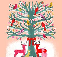 Woodland Christmas Tree by Andrea Lauren  by Andrea Lauren