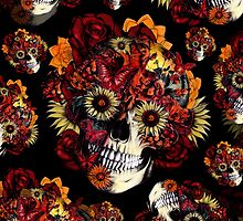 Floral ohm Skull in black and red.  by KristyPatterson