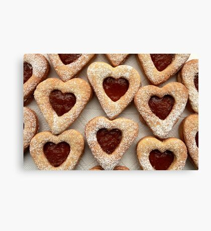 biscuits hearts with jam Canvas Print