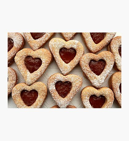 biscuits hearts with jam Photographic Print