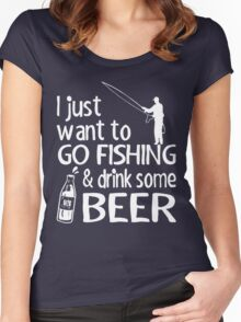 GO FISHING AND DRINK SOME BEER Women's Fitted Scoop T-Shirt