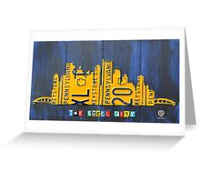Pittsburgh Skyline Silhouette Vintage Recycled License Plate Art Greeting Card