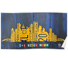 Pittsburgh Skyline Silhouette Vintage Recycled License Plate Art Poster