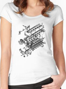 TC24-B1 Exploded View Women's Fitted Scoop T-Shirt